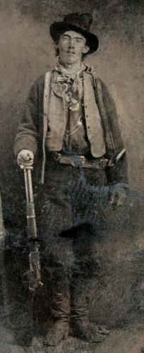 Tintype of Billy the Kid (Nov 23, 1859?–?c. July 14, 1881); believed to have been taken outside a saloon at Fort Sumner, New Mexico in either 1879 or 1880. The original tintype sold in a 2011 auction in Denver for 2.3 million.