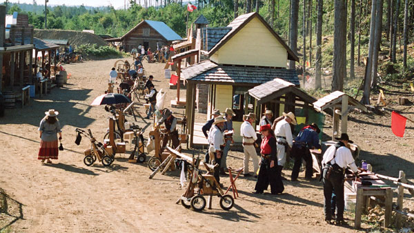 "Main Street, Boom Town; the wheeled carts hold the rifles and ""ammunition"""