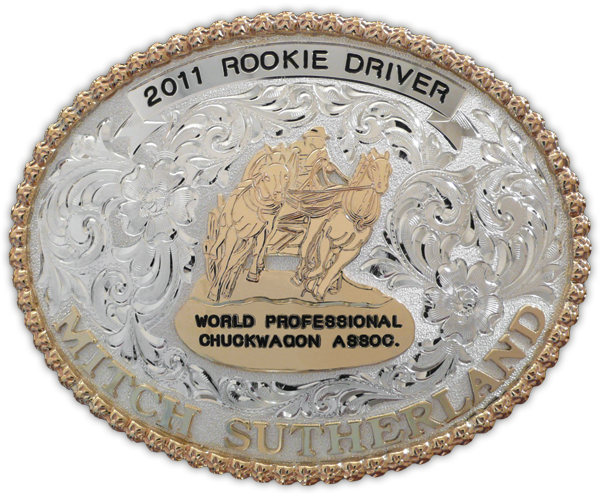 The WPCA is a long-standing client of Olson Silver; the 2011 Rookie Driver award buckle presented to Mitch Sutherland