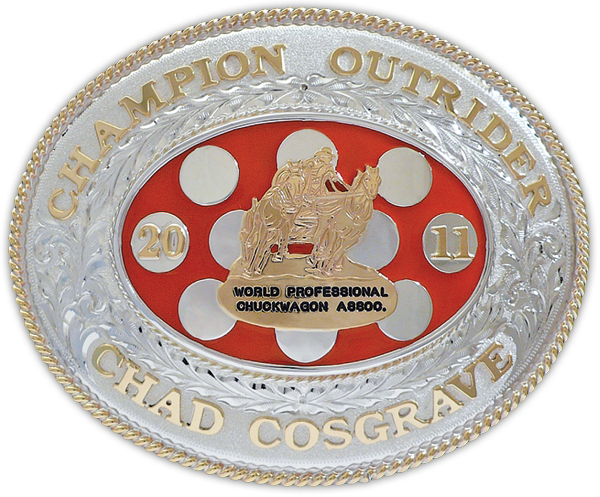 2011 World Professional Chuckwagon Association's Champion Outrider buckle, presented to Chad Cosgrave