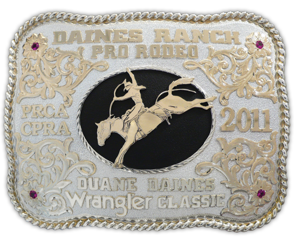 The Daines Ranch Pro Rodeo (Innisfail, Alta.) buckle features the custom silhouette of Canadian Champion saddle bronc rider Duane Daines on Calgary Stampede's Moon Rocket