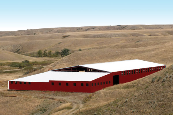 Exterior and interior of of Craig and Camille Reesor's Two C Ranch Horses almost-completed arena near Irvine, Alta. Photo courtesy Camille Reesor