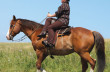 """The secure seat comes from the """"purchase"""" of the rider's lower right leg against her horse's left shoulder"""