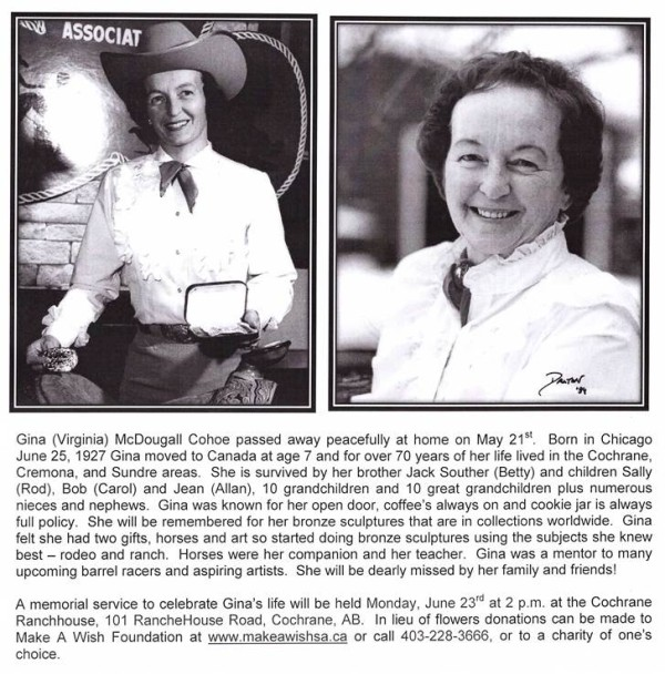 Obituary Gina Mcdougall Cohoe Canadian Cowboy Country