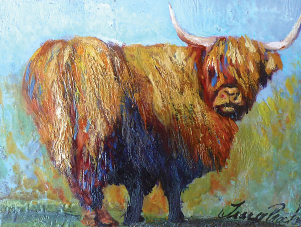 Tracy Proctor Benzinger Bovine, encaustic on birch panel with painted edges