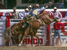 Dustin Flundra scoring an 86.5 aboard the Calgary Stampede horse Until Kamloops on Wild Card Saturday.