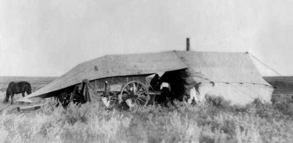 The chuckwagon and tent; similar outfits were used on the general roundups. Photo courtesy Terri Mason.