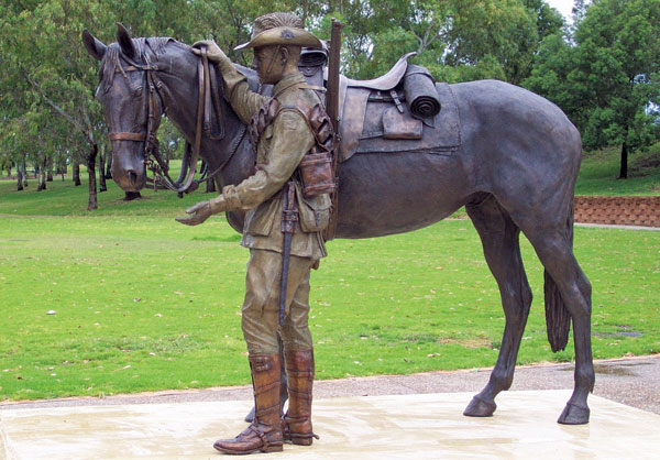Tamworth Memorial to the Australian Light Horse (known locally as the Waler Memorial).  Photo New South Wales War Memorials.