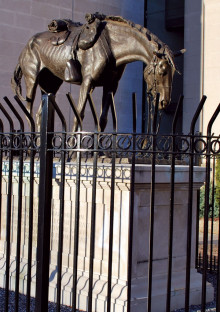 The War Horse at the Virginia Historical Society, Richmond, Va. The bronze horse sculpture is mounted on a six-foot base and surrounded by a high iron fence. Photo Virginia Historical Society.