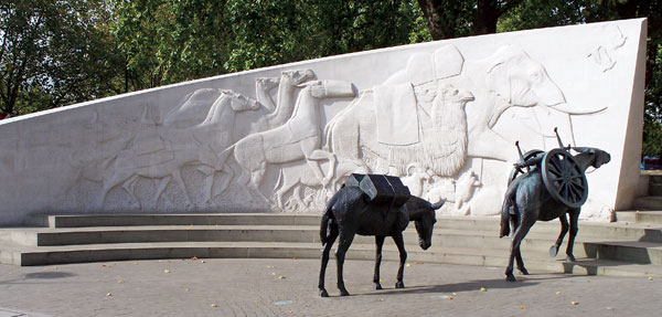Western section of London's  Animals in War Memorial located in Hyde Park