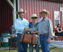 Top Hand Award went to Dan Chalifoux (left), accepting a custom gear bag made by Steve Mason, sponsored by Paula (centre) and Art Cox (right) of Somerset Tree Service.