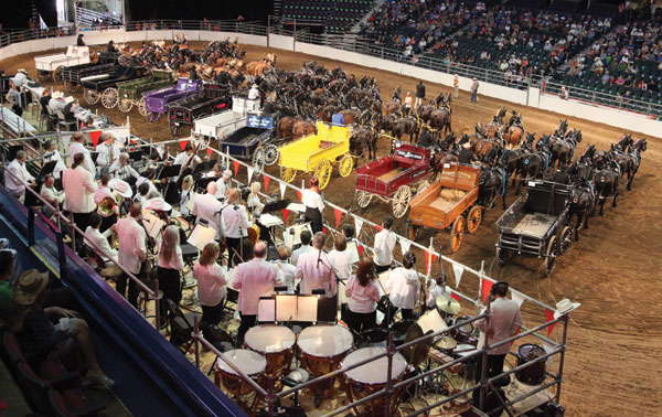 The Calgary Philharmonic played live during the Six-Horse Hitch competition in the Saddledome. Photo courtesy of Calgary Stampede.