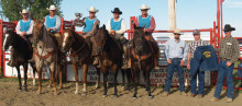 Winners of the 27th Annual Maple Creek Ranch Rodeo (MCRR), from left: Trevor Murphy, Shay Wilson, Fred Blakley (holding the Hereford Cup), Arron Gordon, and Darryl Gold. On foot: MCRR committee member Alex Robinson, Larry Russell (repping for the Forbes), and MCRR committee member John Beierbach. Photo by Terri Mason.