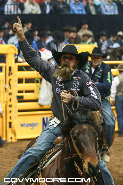 "2016 World Champion Team Ropers, Jeremy ""Fear the Beard"" Buhler and Levi Simpson. Covy Moore photo"