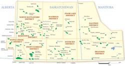 Map showing the PFRA pastures on the Canadian Prairies