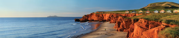 View of the stunning beaches and red cliffs of Entry Island