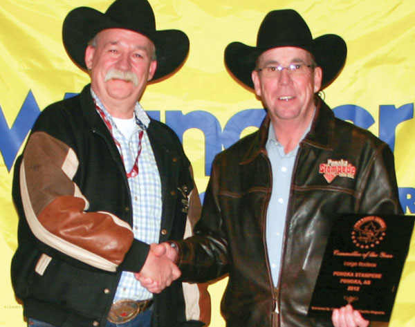 Winner of the 2012 Committee of the Year was Ponoka (Large Rodeo). The trophy plaque, presented by sponsor representative Rob Tanner, was accepted by Joe Dodds.