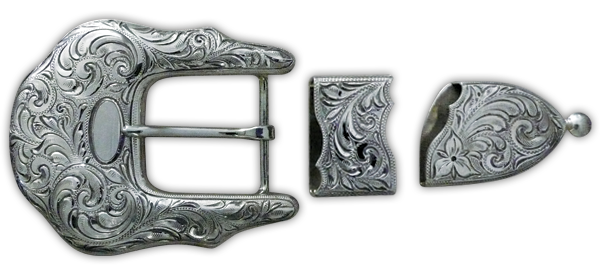 """While buckles are the """"backbone"""" of the business, Olson Silver also creates additional works for clients, including this silver filagreed sterling buckle set."""