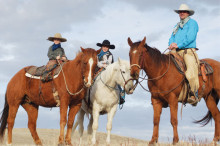 From left, Cuyler on Dip, Tyson on Butter and Pete Jenkins on Roots pause for this early spring photo on their ranch in the Wood Mountain Uplands deep in southern Saskatchewan