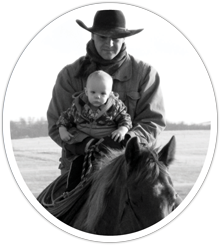Not exactly born in the saddle but close to it, a very young Cuyler joins his dad in the saddle on a very young Roots for a late spring ride