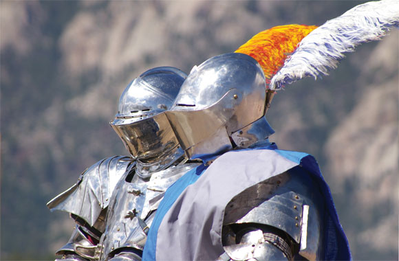 Jousters in full armour